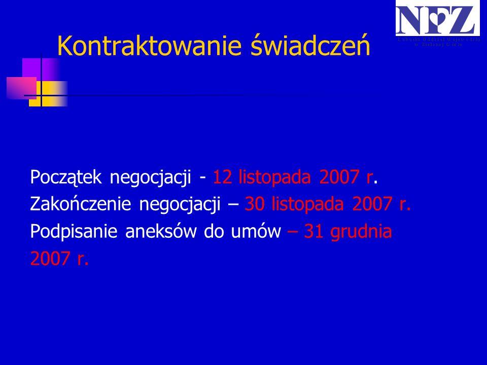 Kontraktowanie świadczeń Początek negocjacji - 12 listopada 2007 r. Zakończenie negocjacji – 30 listopada 2007 r. Podpisanie aneksów do umów – 31 grud