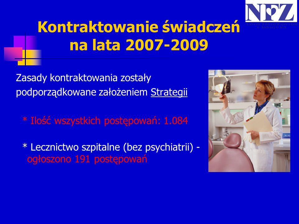 Kontraktowanie świadczeń na lata 2007-2009 Zasady kontraktowania zostały podporządkowane założeniem Strategii * Ilość wszystkich postępowań: 1.084 * L