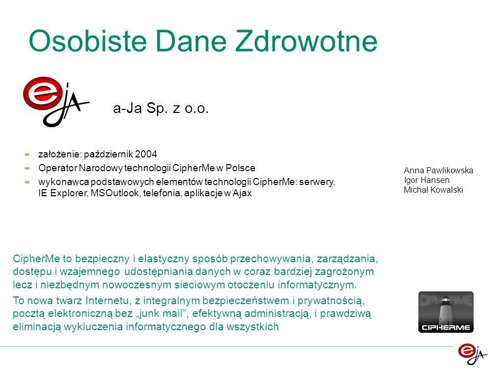 a-Ja Sp. z o.o. założenie: październik 2004 Operator Narodowy technologii CipherMe w Polsce wykonawca podstawowych elementów technologii CipherMe: ser