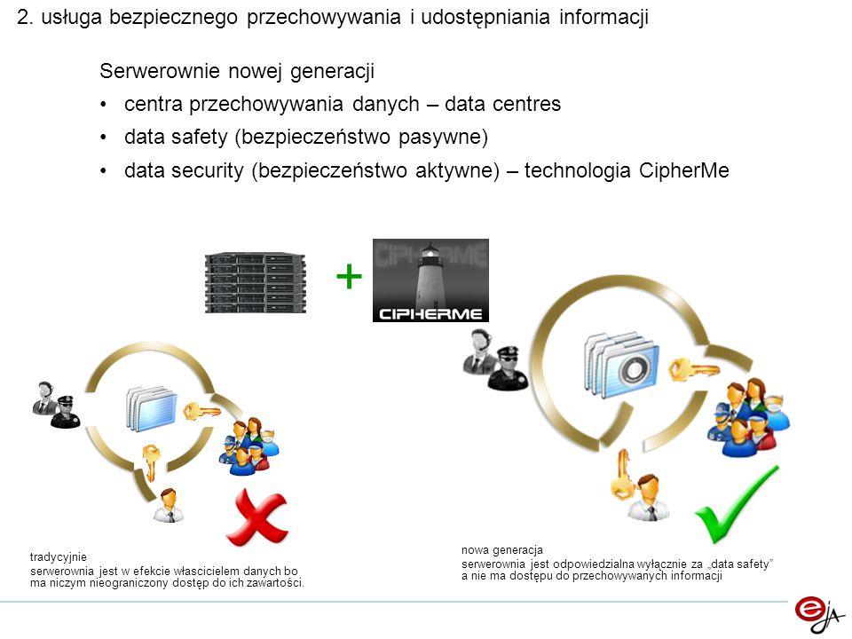 2. usługa bezpiecznego przechowywania i udostępniania informacji Serwerownie nowej generacji centra przechowywania danych – data centres data safety (