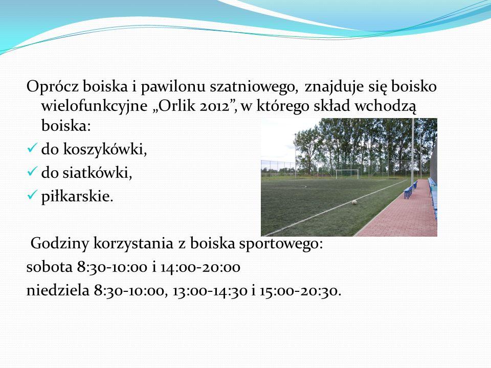 Oprócz boiska i pawilonu szatniowego, znajduje się boisko wielofunkcyjne Orlik 2012, w którego skład wchodzą boiska: do koszykówki, do siatkówki, piłk