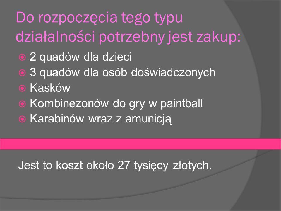 2 quadów dla dzieci 3 quadów dla osób doświadczonych Kasków Kombinezonów do gry w paintball Karabinów wraz z amunicją Jest to koszt około 27 tysięcy złotych.