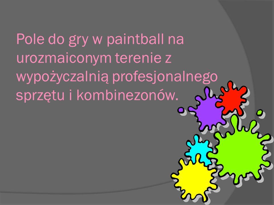 Pole do gry w paintball na urozmaiconym terenie z wypożyczalnią profesjonalnego sprzętu i kombinezonów.