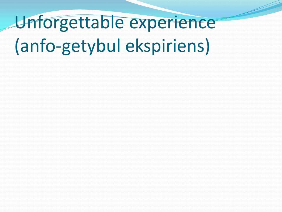 Unforgettable experience (anfo-getybul ekspiriens)