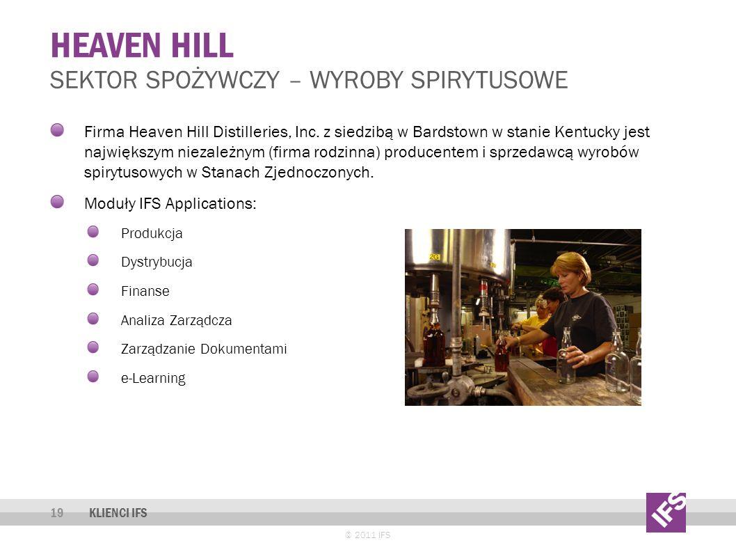 HEAVEN HILL © 2011 IFS 19 SEKTOR SPOŻYWCZY – WYROBY SPIRYTUSOWE KLIENCI IFS Firma Heaven Hill Distilleries, Inc.