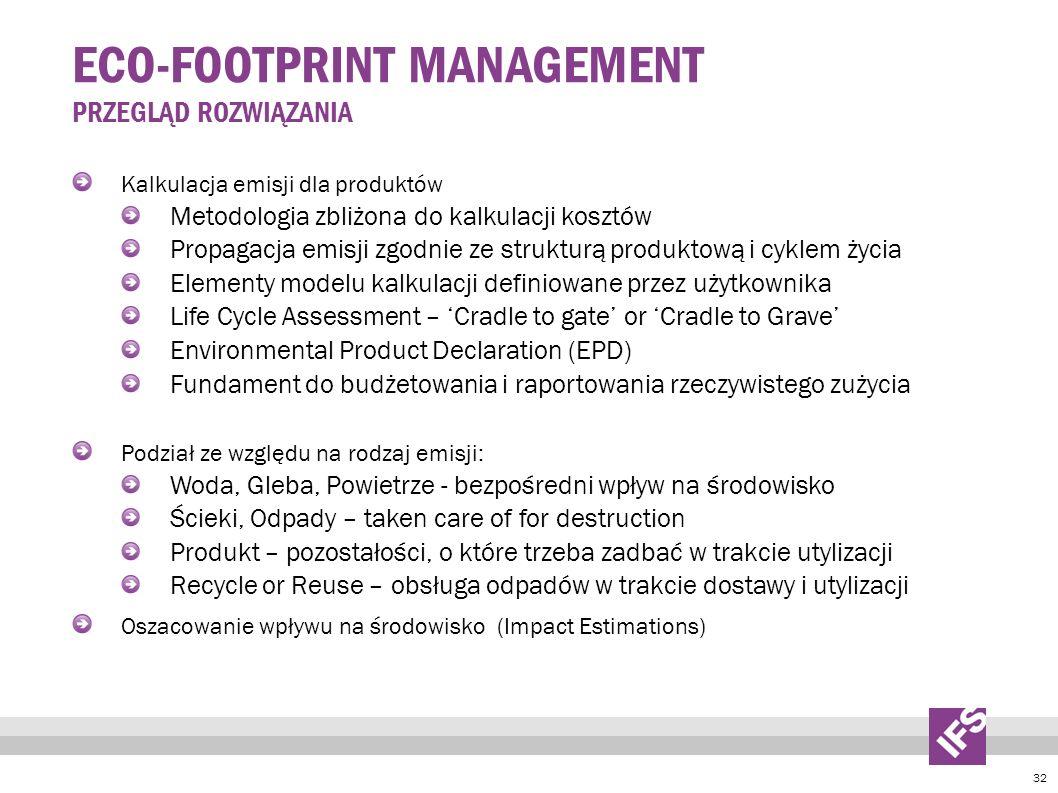 32 ECO-FOOTPRINT MANAGEMENT PRZEGLĄD ROZWIĄZANIA Kalkulacja emisji dla produktów Metodologia zbliżona do kalkulacji kosztów Propagacja emisji zgodnie ze strukturą produktową i cyklem życia Elementy modelu kalkulacji definiowane przez użytkownika Life Cycle Assessment – Cradle to gate or Cradle to Grave Environmental Product Declaration (EPD) Fundament do budżetowania i raportowania rzeczywistego zużycia Podział ze względu na rodzaj emisji: Woda, Gleba, Powietrze - bezpośredni wpływ na środowisko Ścieki, Odpady – taken care of for destruction Produkt – pozostałości, o które trzeba zadbać w trakcie utylizacji Recycle or Reuse – obsługa odpadów w trakcie dostawy i utylizacji Oszacowanie wpływu na środowisko (Impact Estimations)