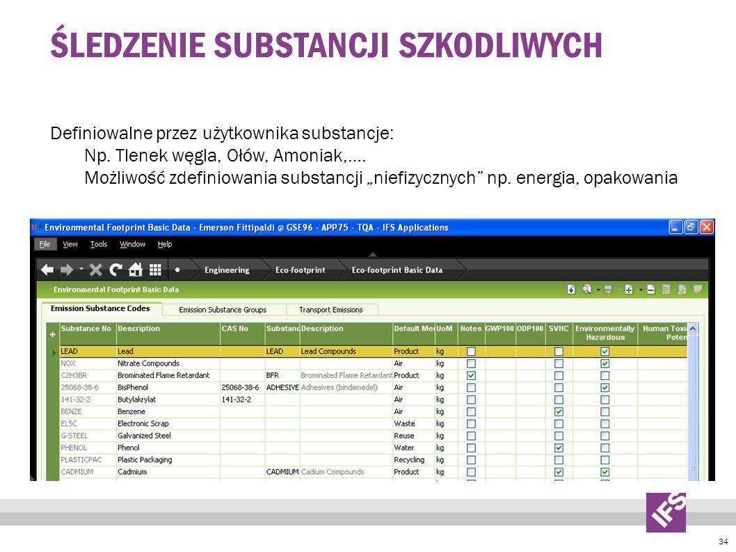 34 ŚLEDZENIE SUBSTANCJI SZKODLIWYCH Definiowalne przez użytkownika substancje: Np.