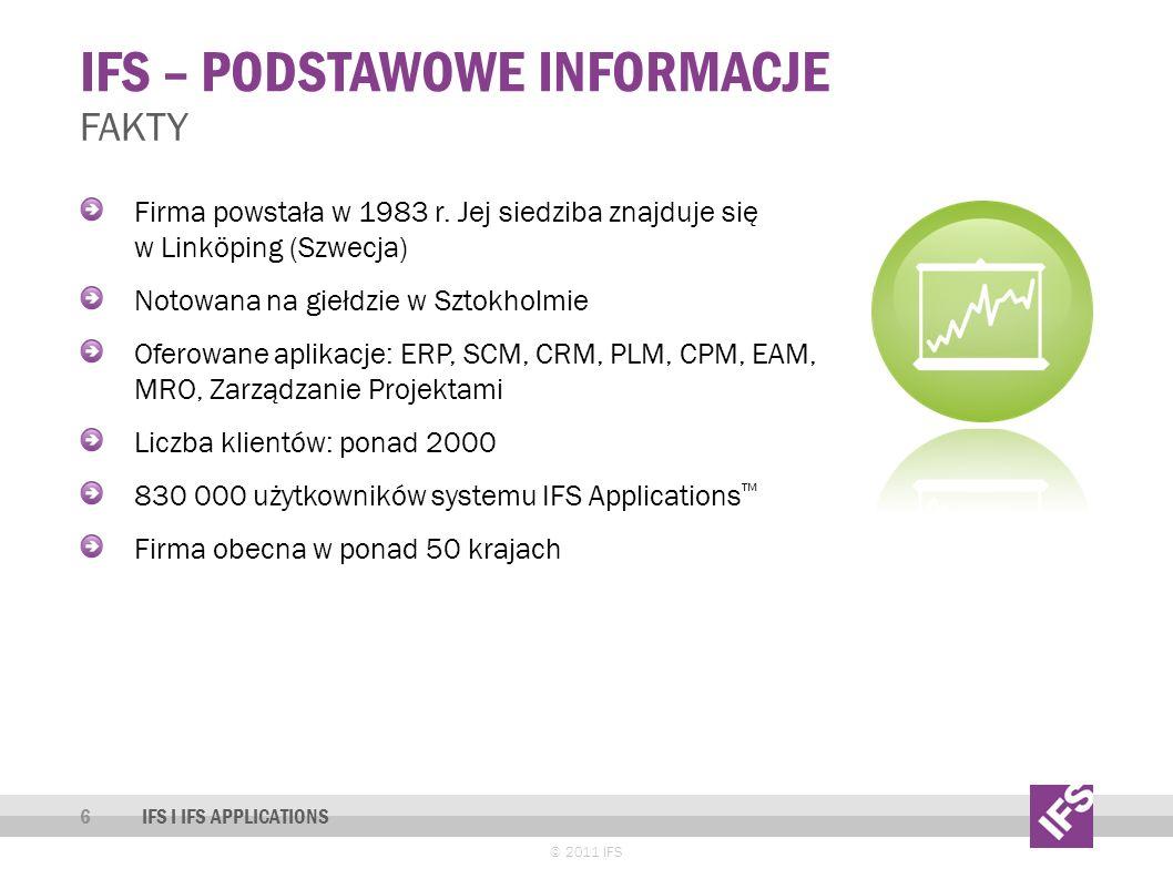 IFS – PODSTAWOWE INFORMACJE © 2011 IFS FAKTY Firma powstała w 1983 r.