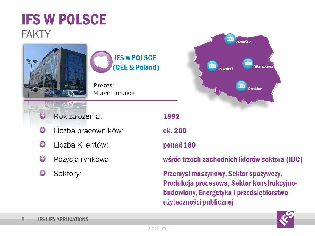 IFS w POLSCE (CEE & Poland) Prezes: Marcin Taranek IFS W POLSCE 8 FAKTY IFS I IFS APPLICATIONS Rok założenia: 1992 Liczba pracowników: ok.