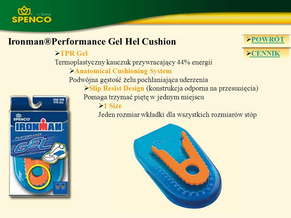POWRÓT CENNIK Ironman®Performance Gel Hel Cushion TPR Gel Termoplastyczny kauczuk przywracający 44% energii Anatomical Cushioning System Podwójna gęst