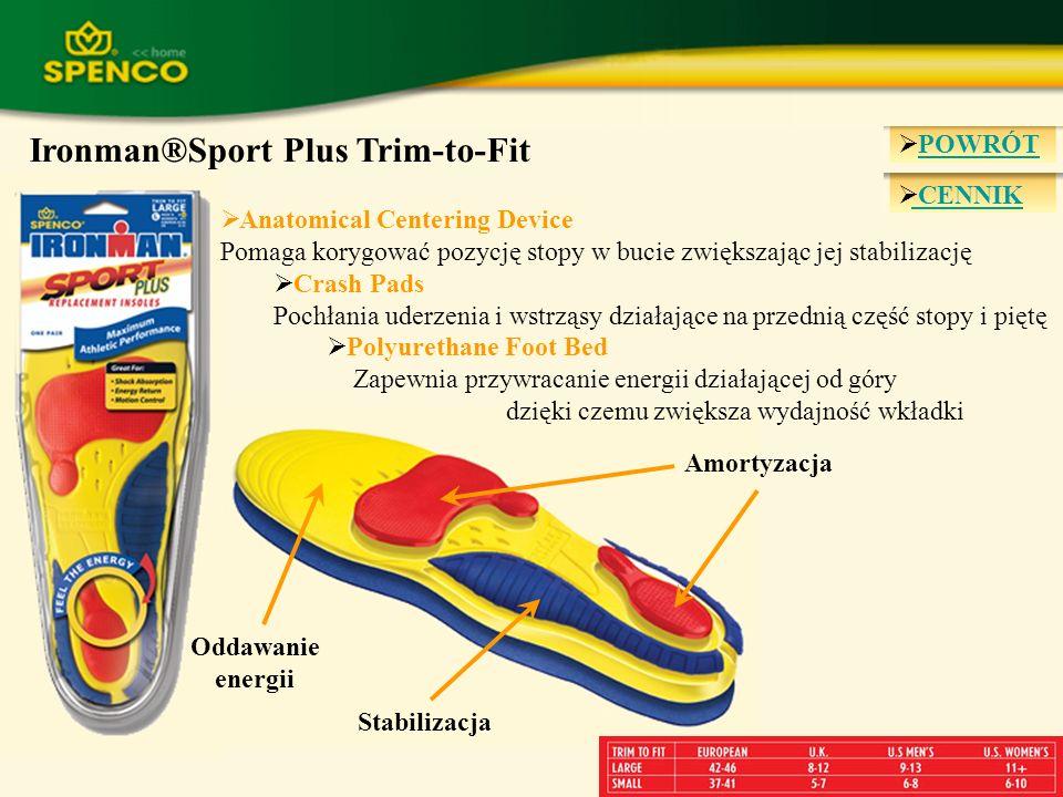 CENNIK Ironman®Sport Plus Trim-to-Fit Anatomical Centering Device Pomaga korygować pozycję stopy w bucie zwiększając jej stabilizację Crash Pads Pochł