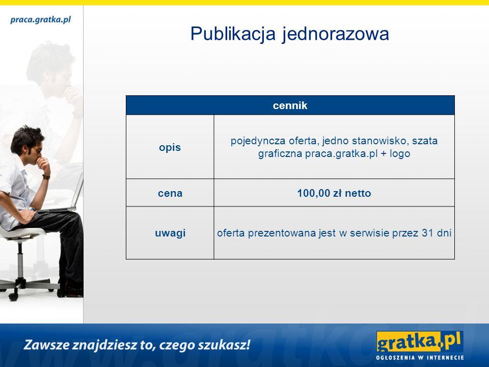 cennik opis pojedyncza oferta, jedno stanowisko, szata graficzna praca.gratka.pl + logo cena100,00 zł netto uwagioferta prezentowana jest w serwisie p