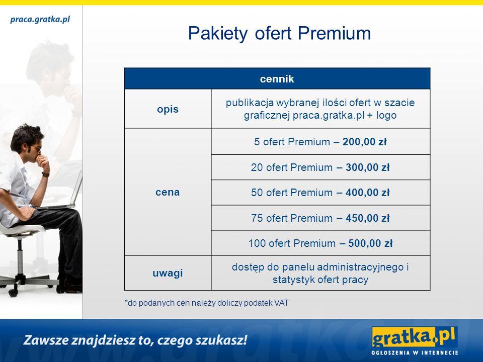 cennik opis publikacja wybranej ilości ofert w szacie graficznej praca.gratka.pl + logo cena 5 ofert Premium – 200,00 zł 20 ofert Premium – 300,00 zł