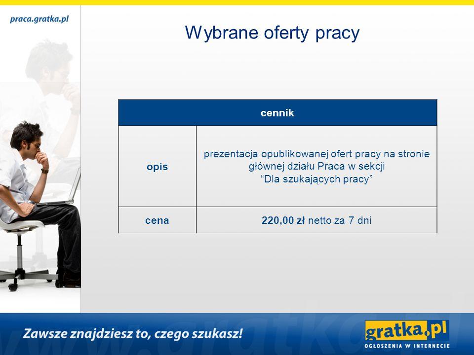 cennik opis prezentacja opublikowanej ofert pracy na stronie głównej działu Praca w sekcji Dla szukających pracy cena220,00 zł netto za 7 dni
