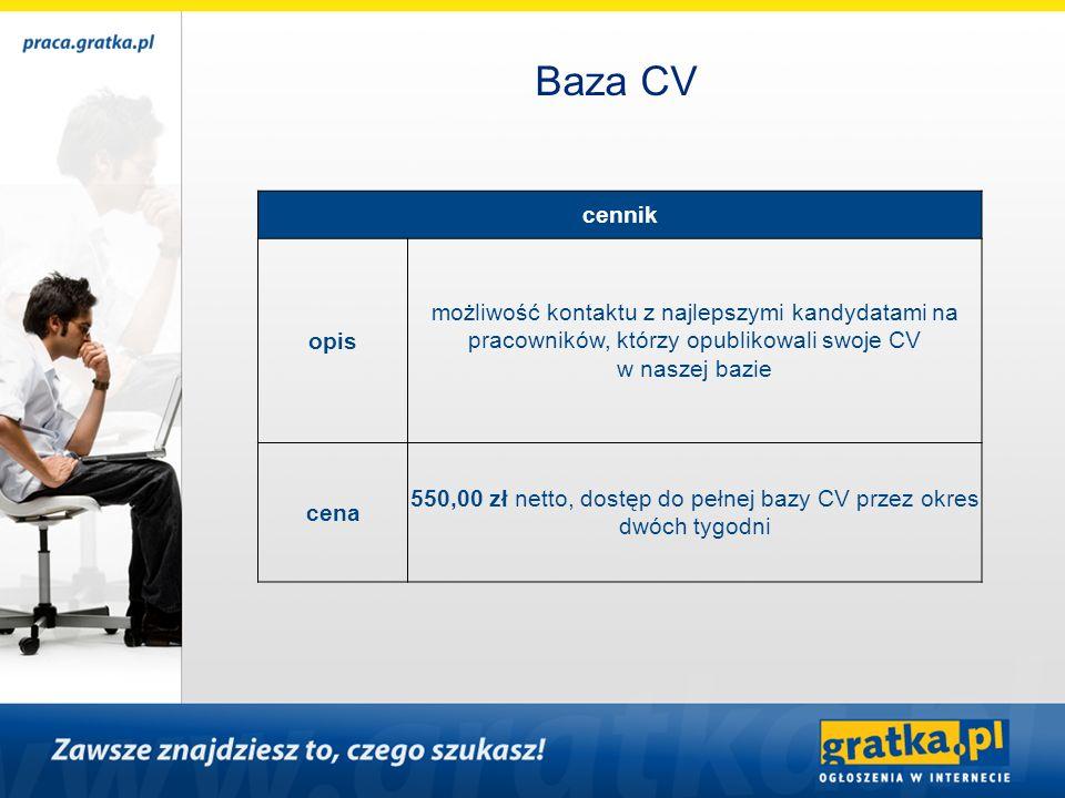 cennik opis możliwość kontaktu z najlepszymi kandydatami na pracowników, którzy opublikowali swoje CV w naszej bazie cena 550,00 zł netto, dostęp do p