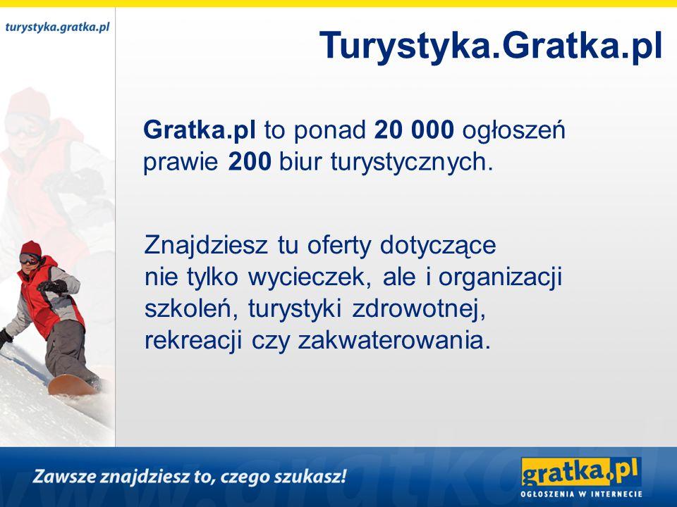 Gratka.pl to ponad 20 000 ogłoszeń prawie 200 biur turystycznych. Znajdziesz tu oferty dotyczące nie tylko wycieczek, ale i organizacji szkoleń, turys