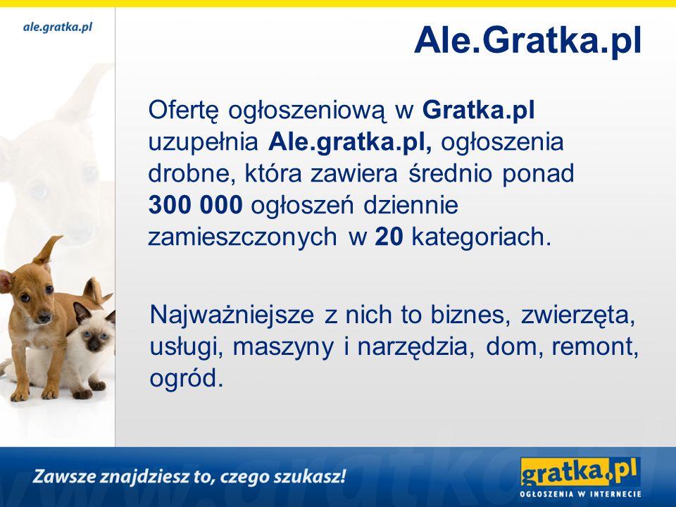 Ofertę ogłoszeniową w Gratka.pl uzupełnia Ale.gratka.pl, ogłoszenia drobne, która zawiera średnio ponad 300 000 ogłoszeń dziennie zamieszczonych w 20