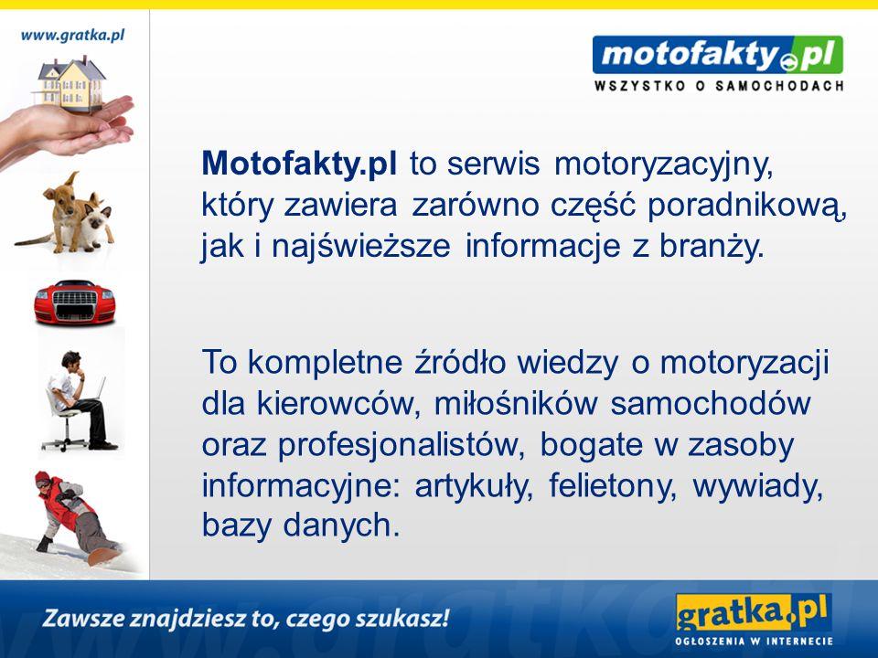 Motofakty.pl to serwis motoryzacyjny, który zawiera zarówno część poradnikową, jak i najświeższe informacje z branży. To kompletne źródło wiedzy o mot
