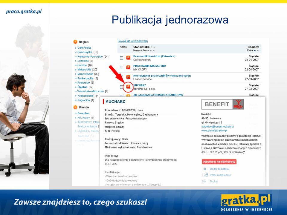cennik opis pojedyncza oferta, jedno stanowisko, szata graficzna praca.gratka.pl + logo cena100,00 zł netto uwagioferta prezentowana jest w serwisie przez 31 dni