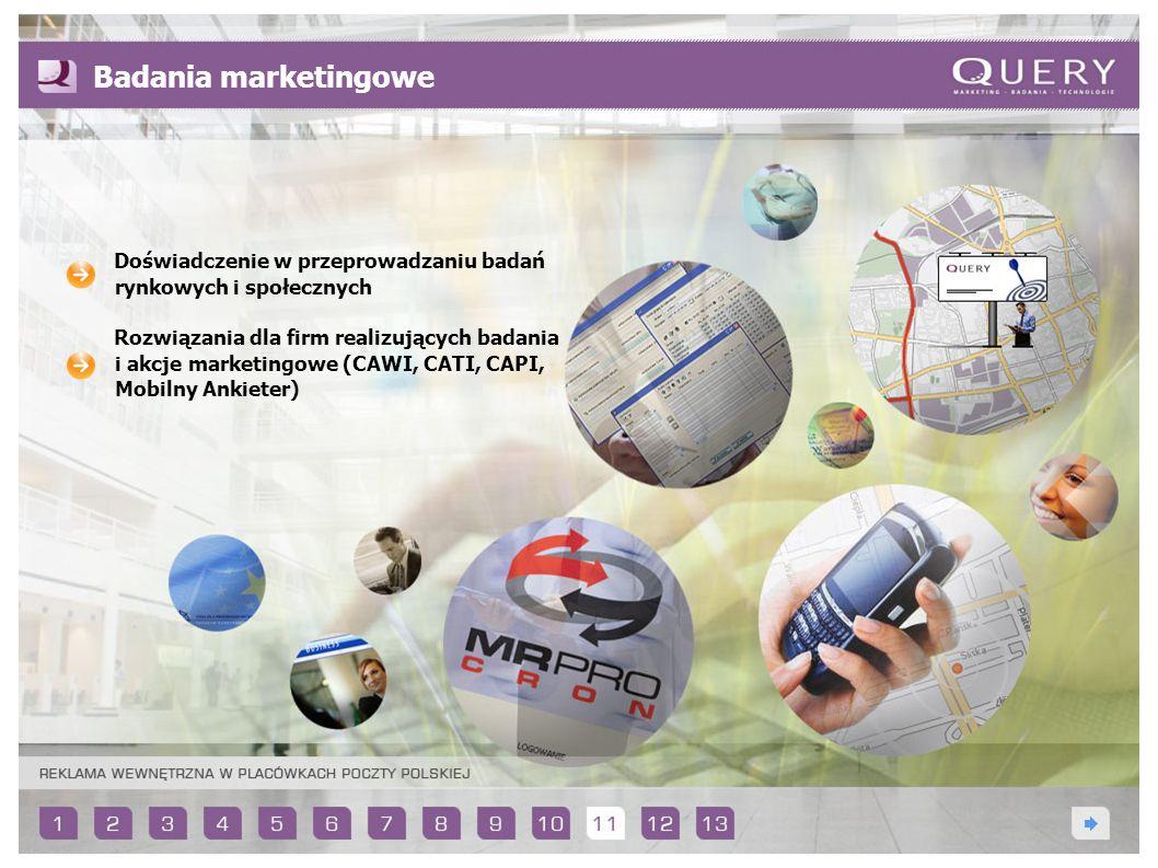 Badania marketingowe Doświadczenie w przeprowadzaniu badań rynkowych i społecznych Rozwiązania dla firm realizujących badania i akcje marketingowe (CA