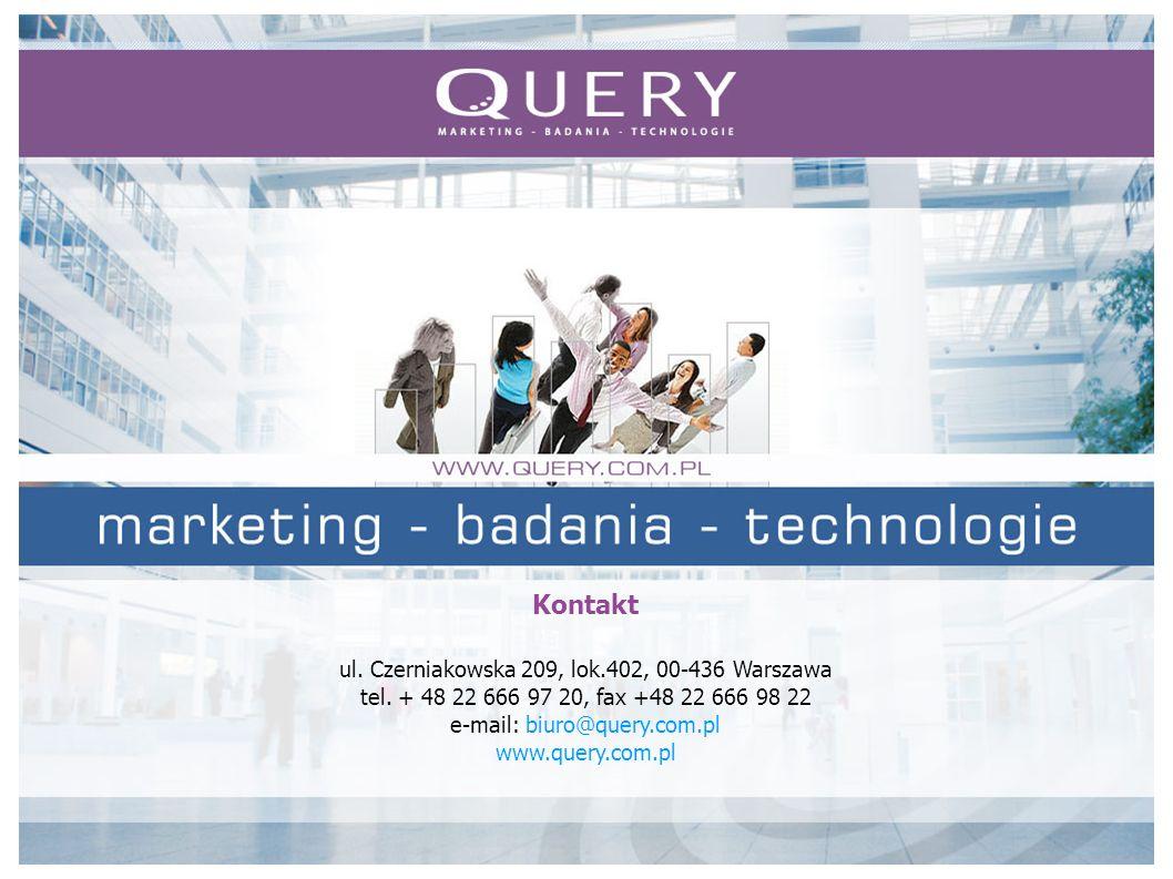 Kontakt ul. Czerniakowska 209, lok.402, 00-436 Warszawa tel. + 48 22 666 97 20, fax +48 22 666 98 22 e-mail: biuro@query.com.pl www.query.com.pl
