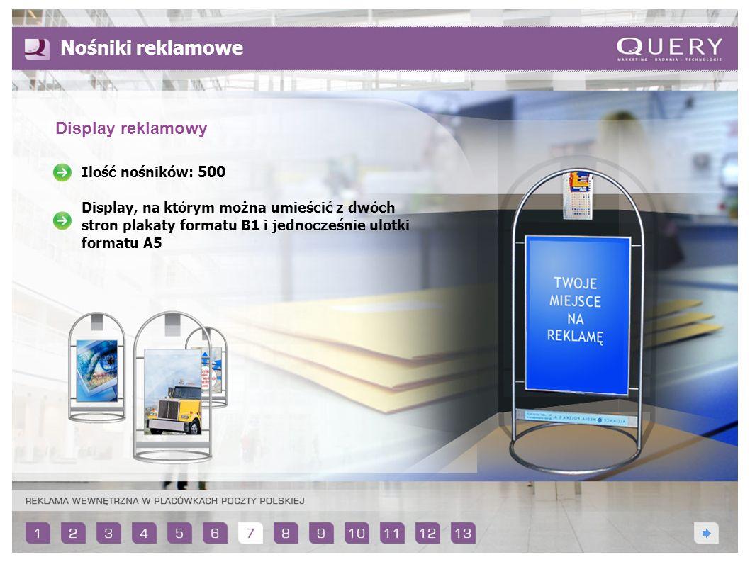 Ilość nośników: 500 Display, na którym można umieścić z dwóch stron plakaty formatu B1 i jednocześnie ulotki formatu A5 Nośniki reklamowe Display rekl