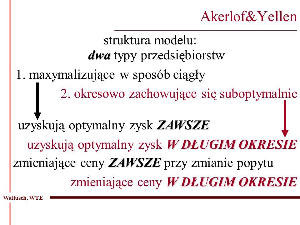 Akerlof&Yellen _________________________________________________________________________ struktura modelu: dwa dwa typy przedsiębiorstw 1.