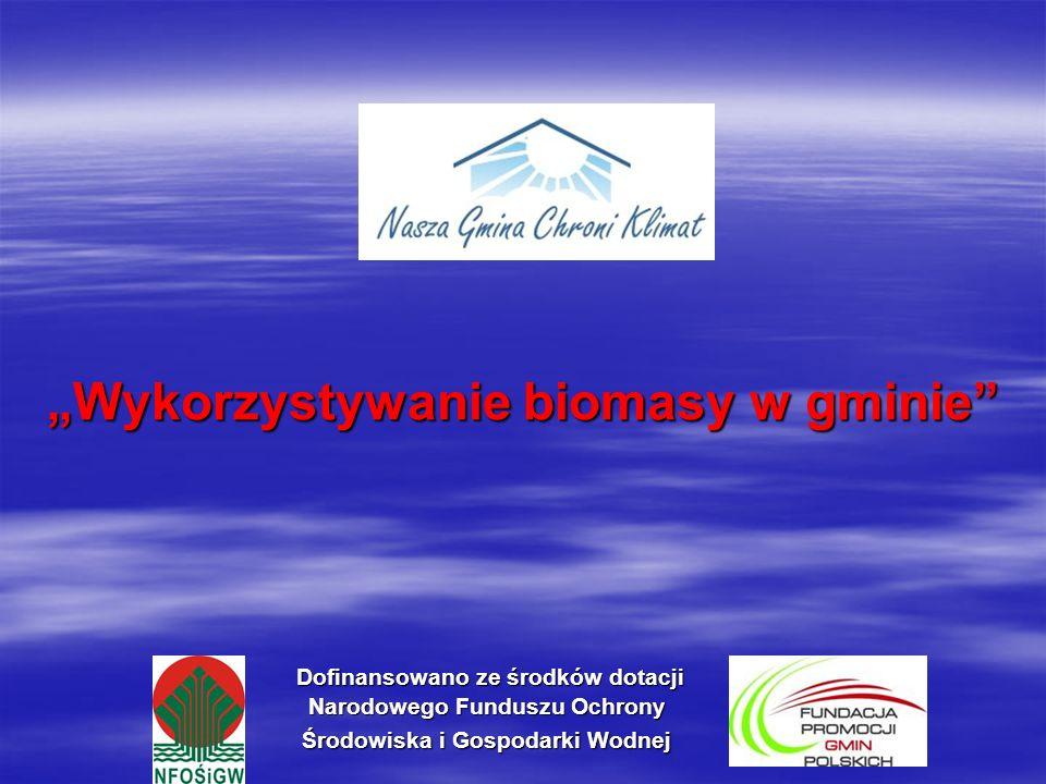 Dofinansowano ze środków dotacji Narodowego Funduszu Ochrony Środowiska i Gospodarki Wodnej Dofinansowano ze środków dotacji Narodowego Funduszu Ochrony Środowiska i Gospodarki Wodnej Wykorzystywanie biomasy w gminie