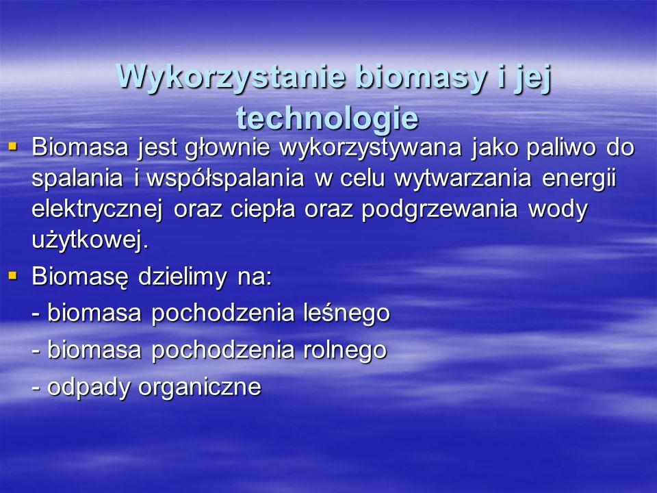 Wykorzystanie biomasy i jej technologie Wykorzystanie biomasy i jej technologie Biomasa jest głownie wykorzystywana jako paliwo do spalania i współspalania w celu wytwarzania energii elektrycznej oraz ciepła oraz podgrzewania wody użytkowej.