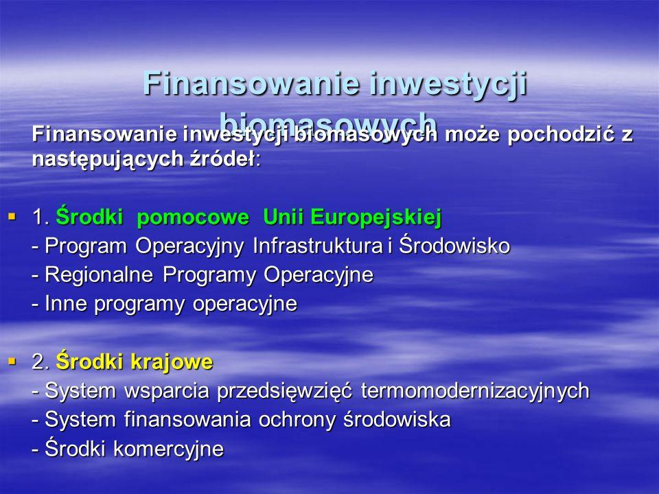 Finansowanie inwestycji biomasowych Finansowanie inwestycji biomasowych Finansowanie inwestycji biomasowych może pochodzić z następujących źródeł: 1.