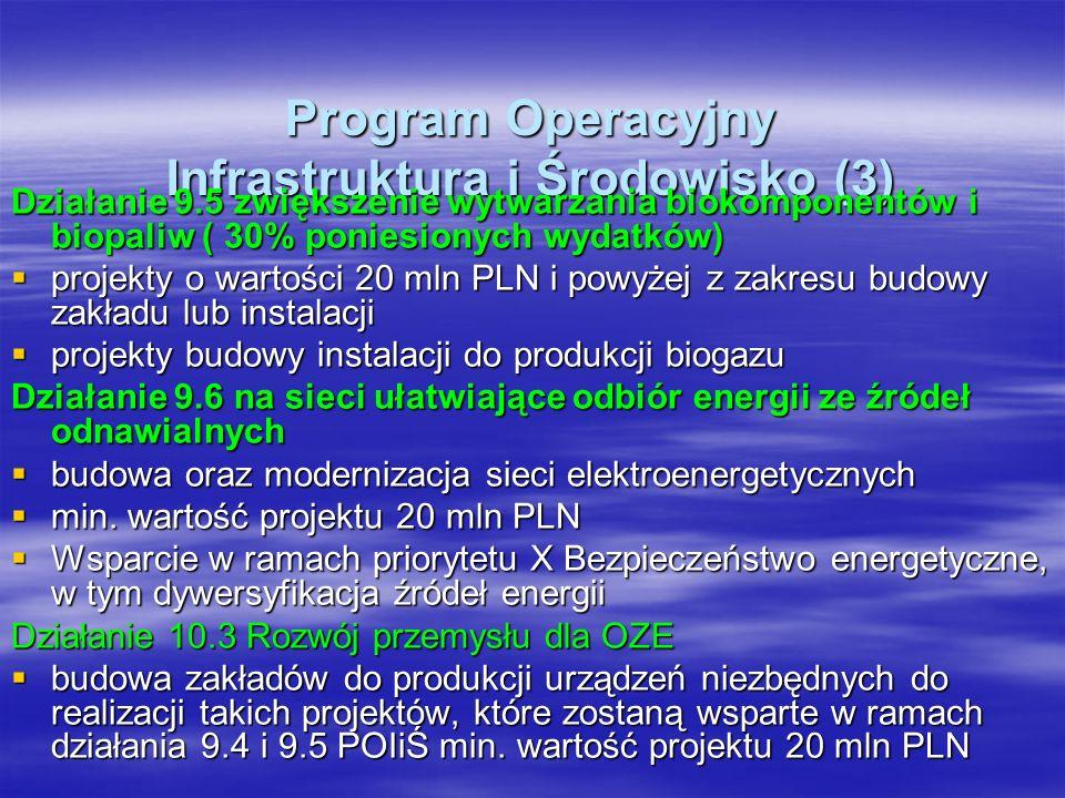 Program Operacyjny Infrastruktura i Środowisko (3) Działanie 9.5 zwiększenie wytwarzania biokomponentów i biopaliw ( 30% poniesionych wydatków) projekty o wartości 20 mln PLN i powyżej z zakresu budowy zakładu lub instalacji projekty o wartości 20 mln PLN i powyżej z zakresu budowy zakładu lub instalacji projekty budowy instalacji do produkcji biogazu projekty budowy instalacji do produkcji biogazu Działanie 9.6 na sieci ułatwiające odbiór energii ze źródeł odnawialnych budowa oraz modernizacja sieci elektroenergetycznych budowa oraz modernizacja sieci elektroenergetycznych min.