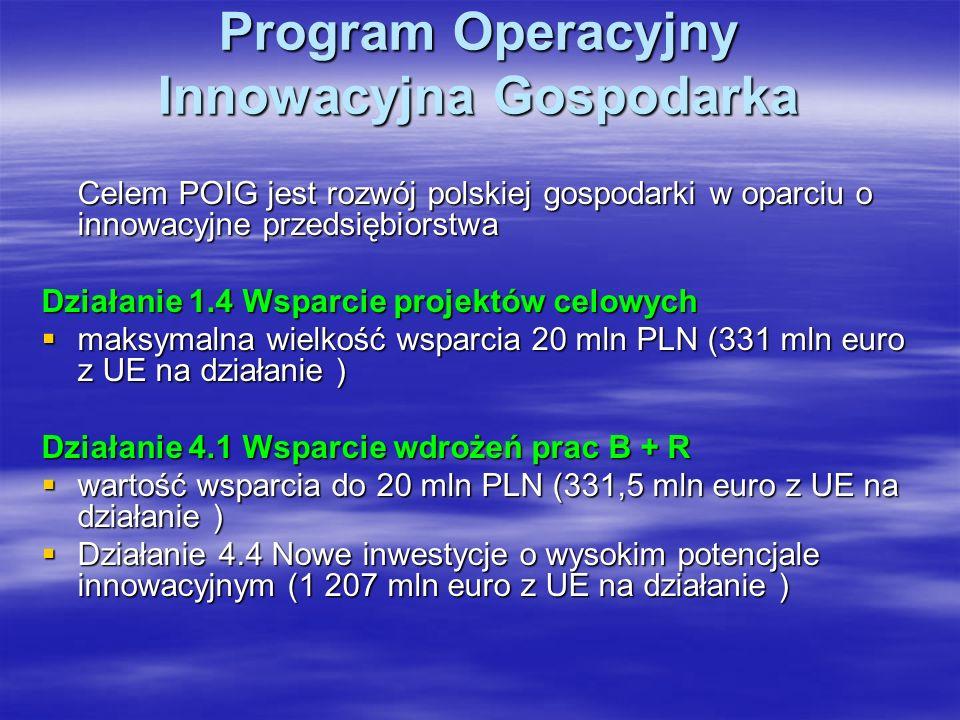Program Operacyjny Innowacyjna Gospodarka Celem POIG jest rozwój polskiej gospodarki w oparciu o innowacyjne przedsiębiorstwa Działanie 1.4 Wsparcie projektów celowych maksymalna wielkość wsparcia 20 mln PLN (331 mln euro z UE na działanie ) maksymalna wielkość wsparcia 20 mln PLN (331 mln euro z UE na działanie ) Działanie 4.1 Wsparcie wdrożeń prac B + R wartość wsparcia do 20 mln PLN (331,5 mln euro z UE na działanie ) wartość wsparcia do 20 mln PLN (331,5 mln euro z UE na działanie ) Działanie 4.4 Nowe inwestycje o wysokim potencjale innowacyjnym (1 207 mln euro z UE na działanie ) Działanie 4.4 Nowe inwestycje o wysokim potencjale innowacyjnym (1 207 mln euro z UE na działanie )