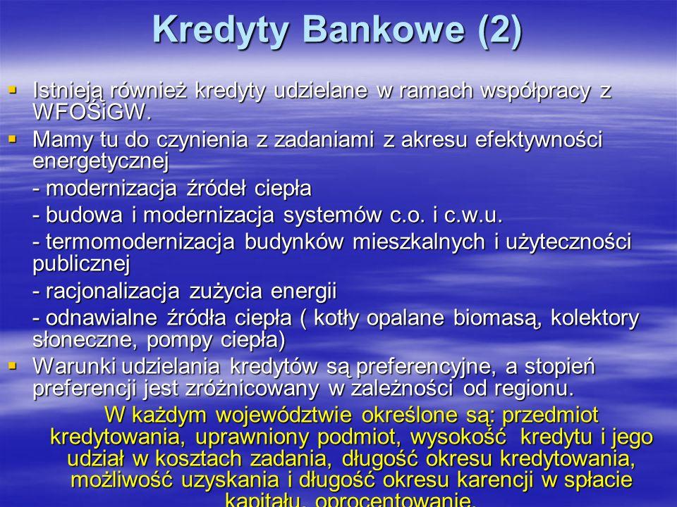 Kredyty Bankowe (2) Istnieją również kredyty udzielane w ramach współpracy z WFOŚiGW.