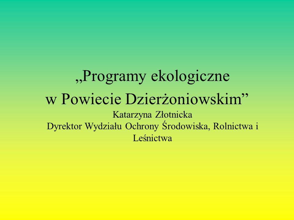 Programy ekologiczne w Powiecie Dzierżoniowskim Katarzyna Złotnicka Dyrektor Wydziału Ochrony Środowiska, Rolnictwa i Leśnictwa
