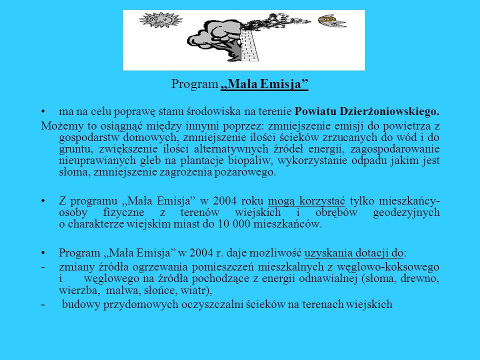 Program Mała Emisja ma na celu poprawę stanu środowiska na terenie Powiatu Dzierżoniowskiego. Możemy to osiągnąć między innymi poprzez: zmniejszenie e