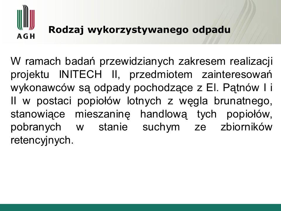 Rodzaj wykorzystywanego odpadu W ramach badań przewidzianych zakresem realizacji projektu INITECH II, przedmiotem zainteresowań wykonawców są odpady p