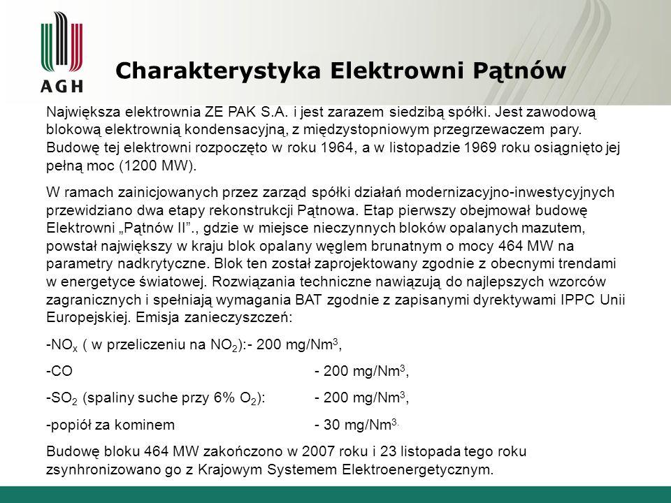 Charakterystyka Elektrowni Pątnów Największa elektrownia ZE PAK S.A. i jest zarazem siedzibą spółki. Jest zawodową blokową elektrownią kondensacyjną,
