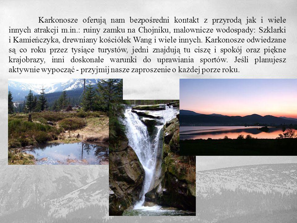 Karkonosze oferują nam bezpośredni kontakt z przyrodą jak i wiele innych atrakcji m.in.: ruiny zamku na Chojniku, malownicze wodospady: Szklarki i Kamieńczyka, drewniany kościółek Wang i wiele innych.