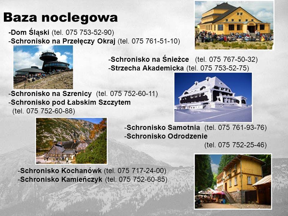 Baza noclegowa -Dom Śląski (tel.075 753-52-90) -Schronisko na Przełęczy Okraj (tel.