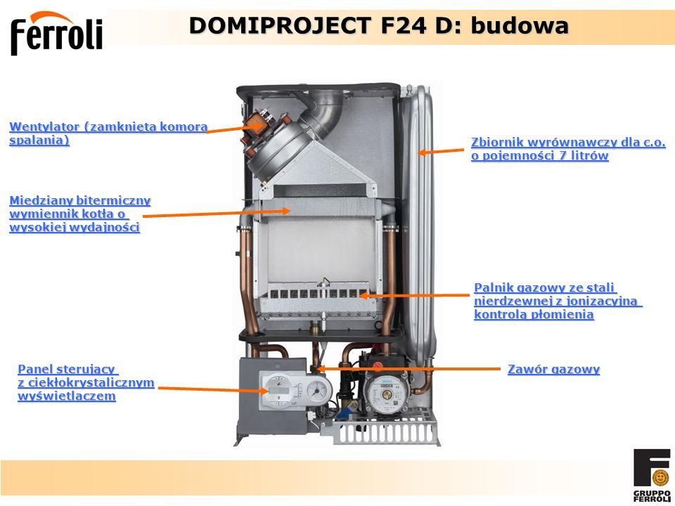 Wentylator (zamknięta komora spalania) Miedziany bitermiczny wymiennik kotła o wysokiej wydajności Panel sterujący z ciekłokrystalicznym wyświetlaczem Palnik gazowy ze stali nierdzewnej z jonizacyjną kontrolą płomienia Zawór gazowy DOMIPROJECT F24 D: budowa DOMIPROJECT F24 D: budowa Zbiornik wyrównawczy dla c.o.