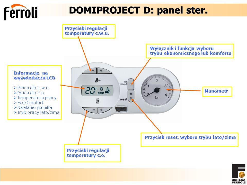 DOMIPROJECT D: panel ster. DOMIPROJECT D: panel ster. Informacje na wyświetlaczu LCD Praca dla c.w.u. Praca dla c.o. Temperatura pracy Eco/Comfort Dzi