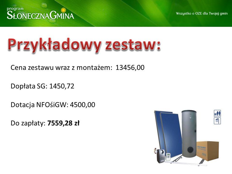 Cena zestawu wraz z montażem: 13456,00 Dopłata SG: 1450,72 Dotacja NFOśiGW: 4500,00 Do zapłaty: 7559,28 zł