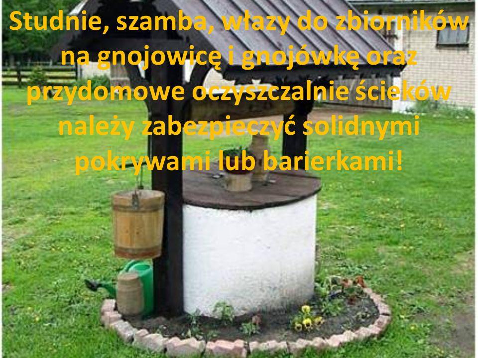 Studnie, szamba, włazy do zbiorników na gnojowicę i gnojówkę oraz przydomowe oczyszczalnie ścieków należy zabezpieczyć solidnymi pokrywami lub barierk