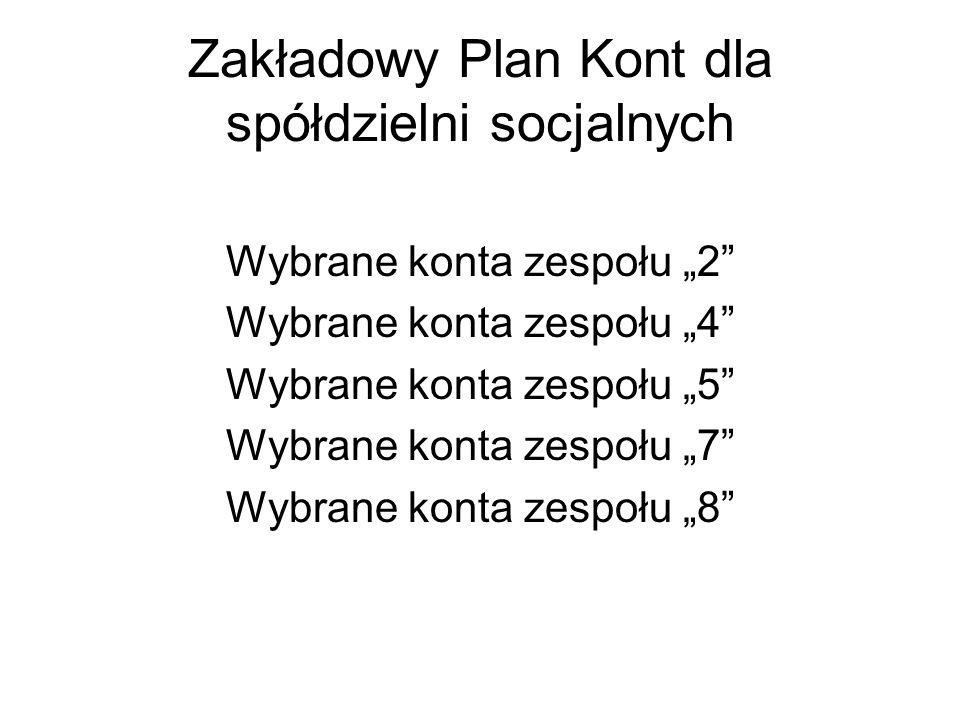 Zakładowy Plan Kont dla spółdzielni socjalnych Wybrane konta zespołu 2 Wybrane konta zespołu 4 Wybrane konta zespołu 5 Wybrane konta zespołu 7 Wybrane