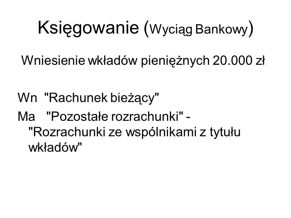 Księgowanie ( Wyciąg Bankowy ) Wniesienie wkładów pieniężnych 20.000 zł Wn