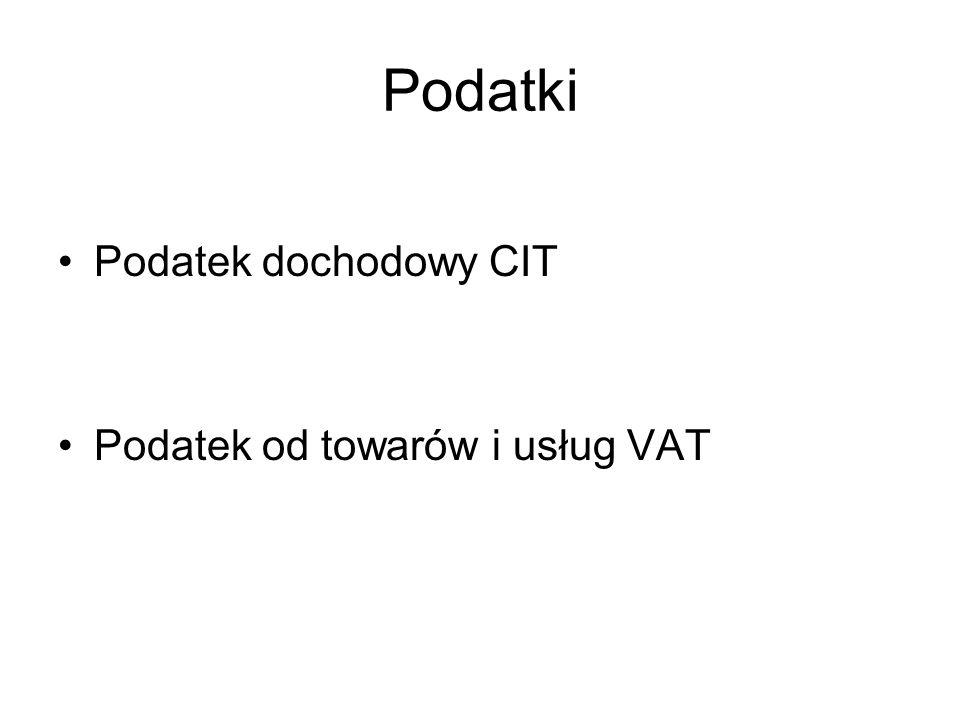 Podatki Podatek dochodowy CIT Podatek od towarów i usług VAT