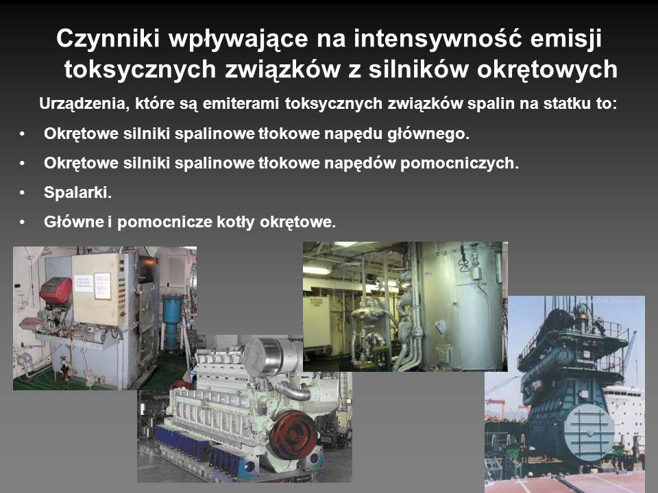 Czynniki wpływające na intensywność emisji toksycznych związków z silników okrętowych Urządzenia, które są emiterami toksycznych związków spalin na st