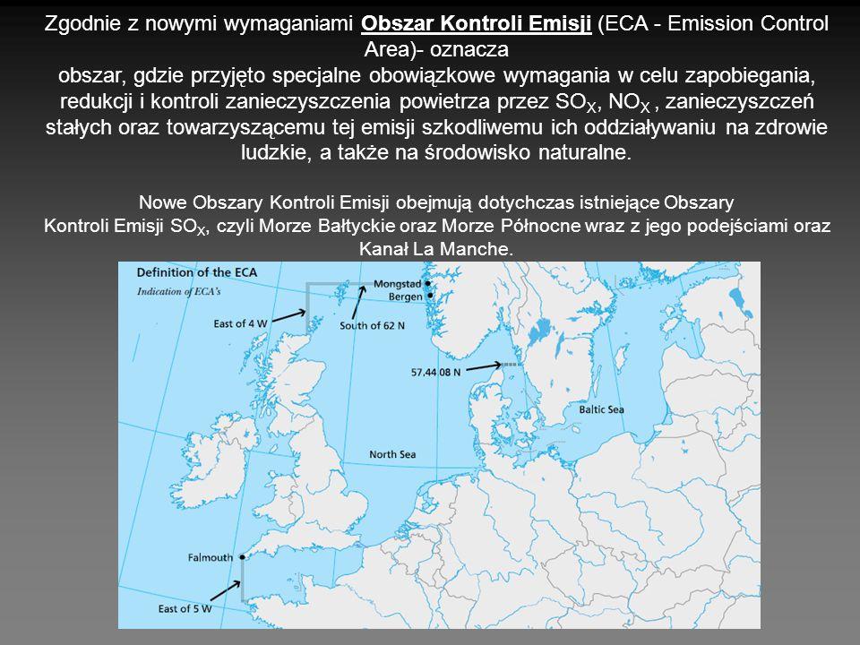Zgodnie z nowymi wymaganiami Obszar Kontroli Emisji (ECA - Emission Control Area)- oznacza obszar, gdzie przyjęto specjalne obowiązkowe wymagania w ce
