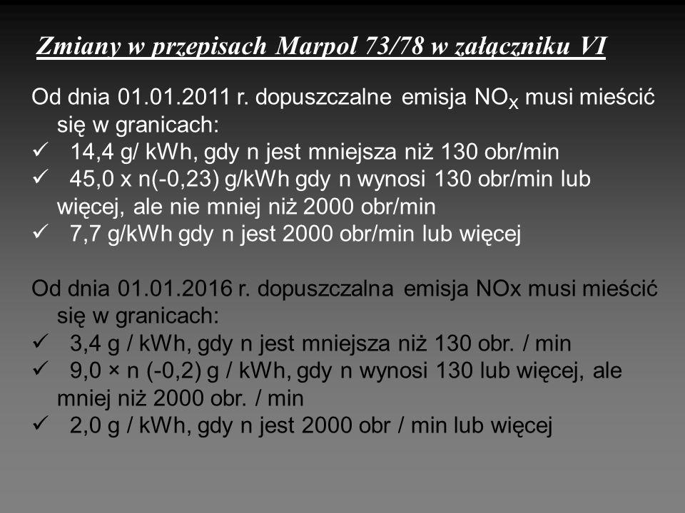 Zmiany w przepisach Marpol 73/78 w załączniku VI Od dnia 01.01.2011 r. dopuszczalne emisja NO X musi mieścić się w granicach: 14,4 g/ kWh, gdy n jest