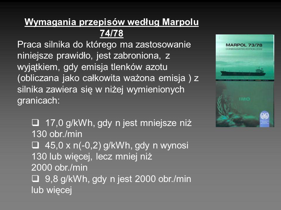 Wymagania przepisów według Marpolu 74/78 Praca silnika do którego ma zastosowanie niniejsze prawidło, jest zabroniona, z wyjątkiem, gdy emisja tlenków